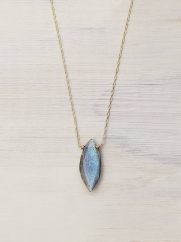 Labradorite Marquis Gem Necklace