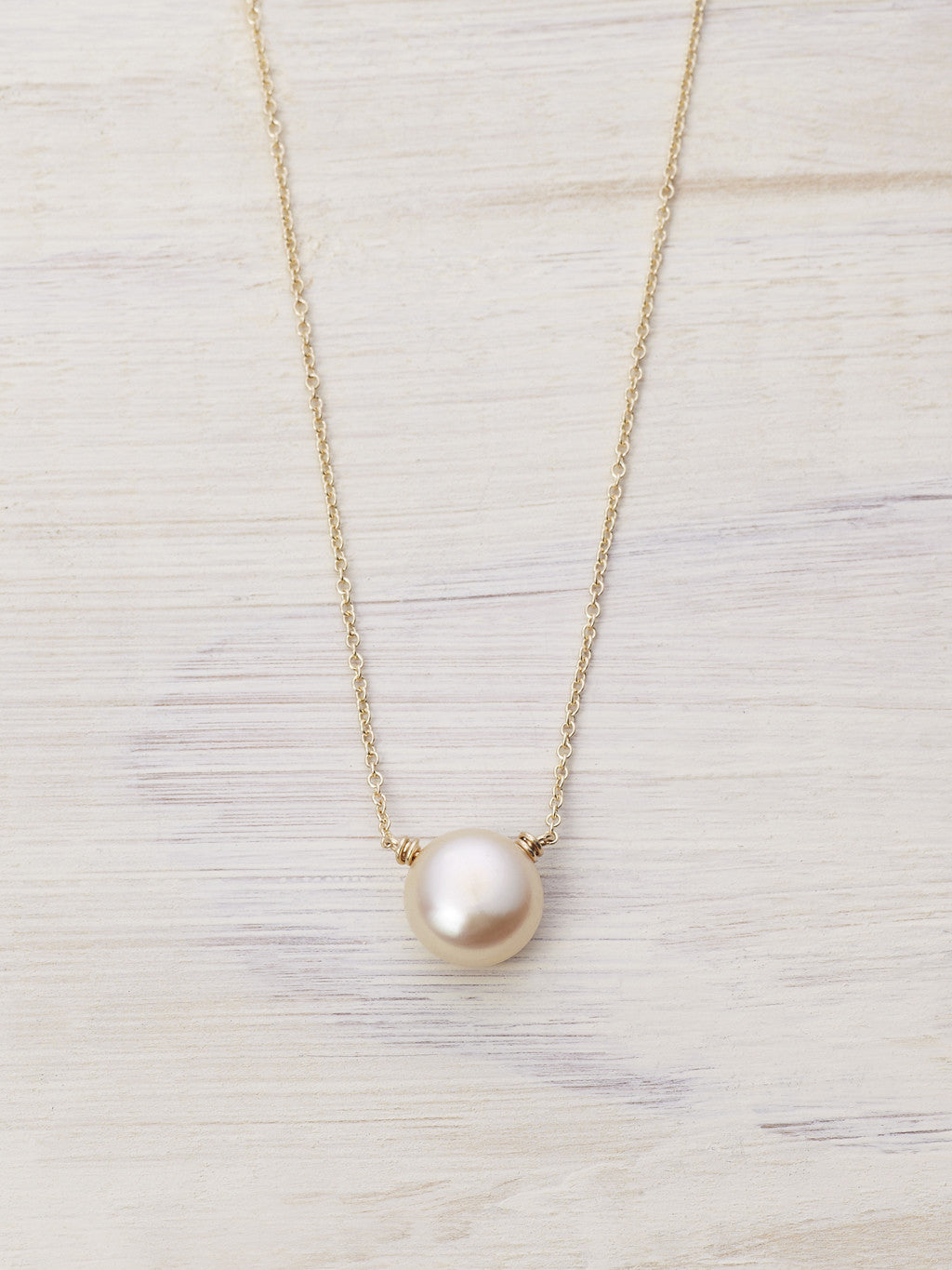 Peach Freshwater Pearl Drop Necklace
