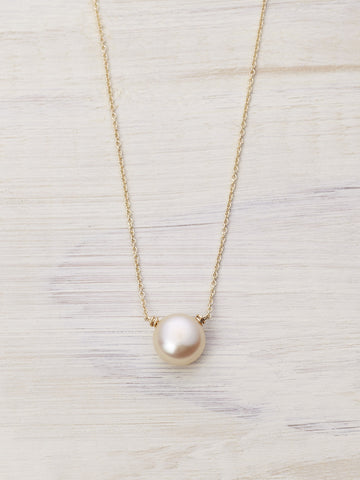 Peach Freshwater Pearl Drop Necklace - LUNESSA