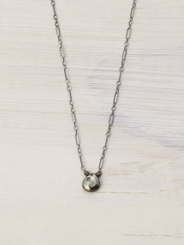 Tiny Antiqued Pyrite Gem Necklace