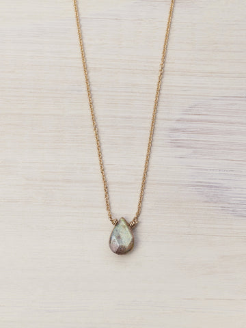 Labradorite Tiny Gem Necklace