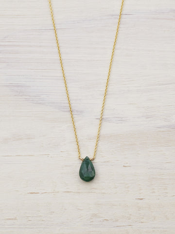 14K Emerald Tiny Gem Necklace - LUNESSA