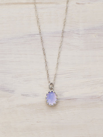 Antique Crown Lavender Crown Chalcedony Necklace