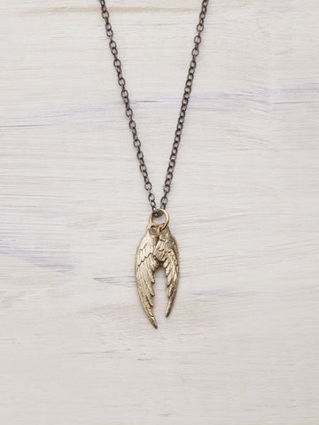 14K Yellow Gold Angel Wings Necklace