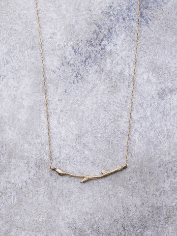 14K Gold Twig Necklace - Small