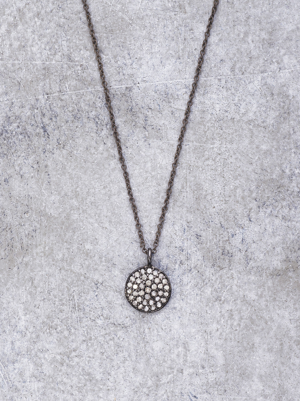 Antiqued Pave Diamond Disk Necklace