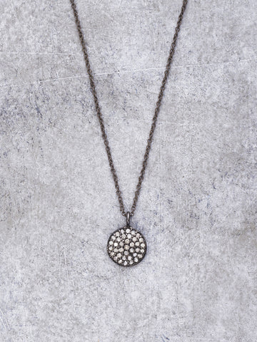 Antiqued Silver Pave Diamond Disk Necklace - LUNESSA