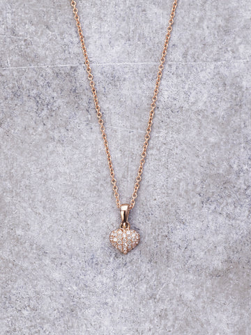 Petite Pave Diamond Heart Necklace