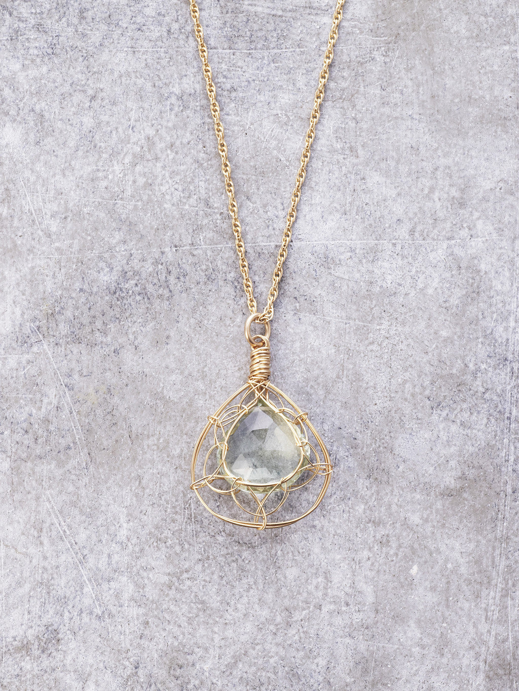 Framed Green Amethyst Necklace