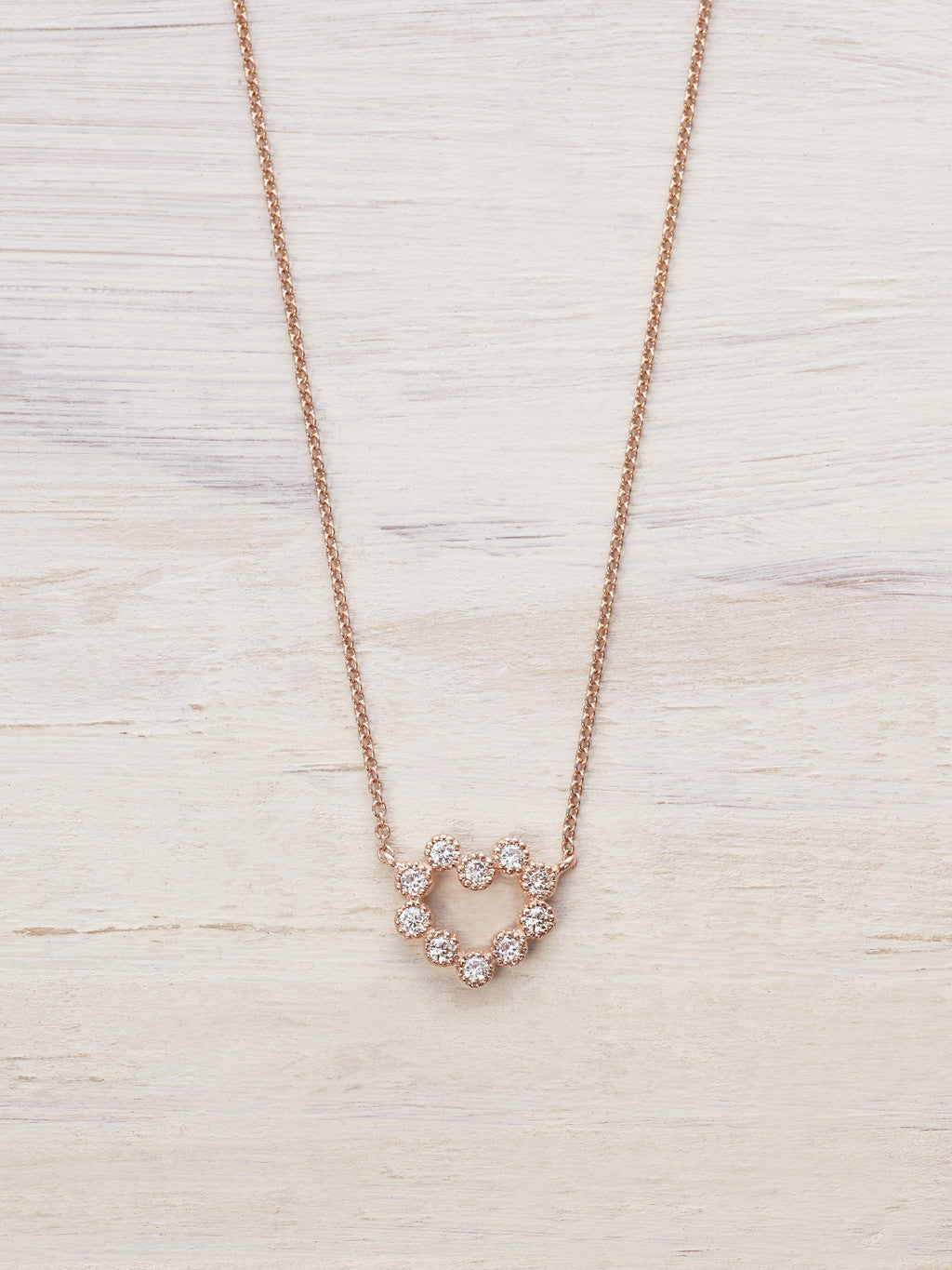 Open Heart Diamond Wreath Necklace