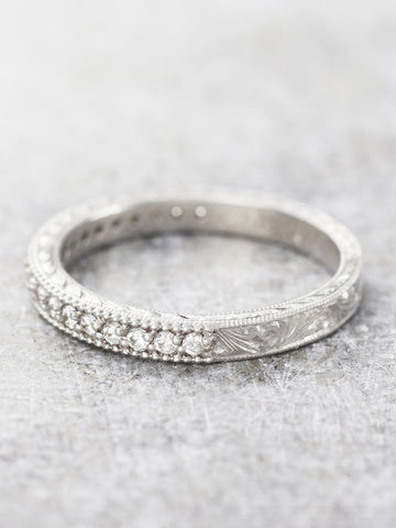 Hand Engraved Diamond Milgrain Band