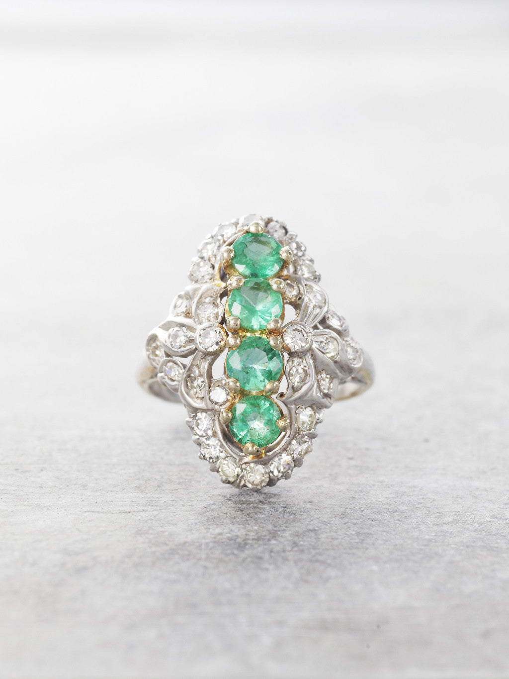 1920's Emerald & Diamond Heirloom Antique Ring