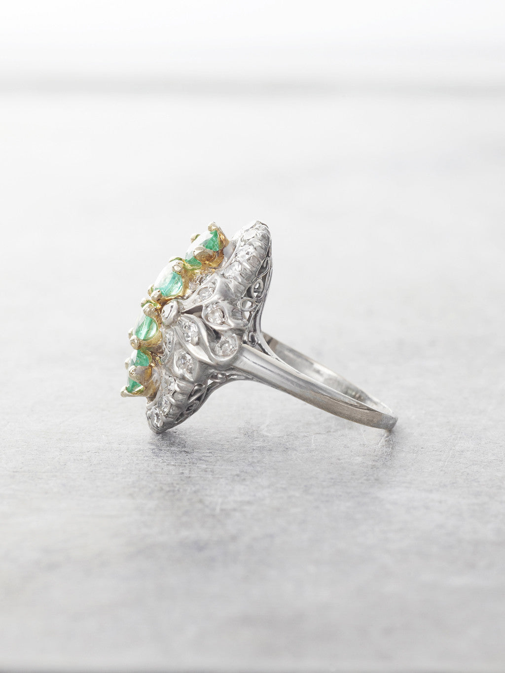 1920's Emerald & Diamond Heirloom Antique Ring - side view