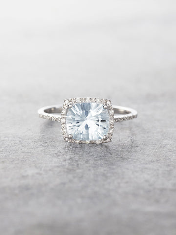 14K Aquamarine & Diamond Halo Ring