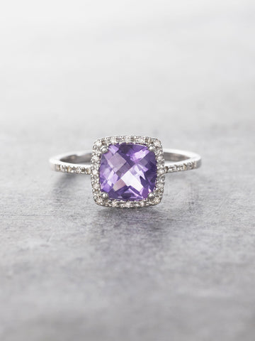 14K Amethyst & Diamond Halo Cocktail Ring