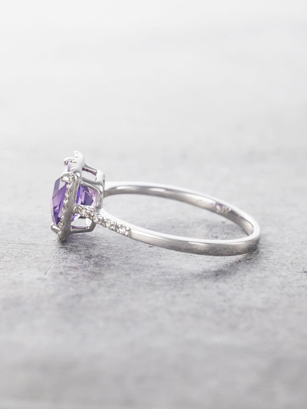 14K Amethyst & Diamond Halo Cocktail Ring - side view