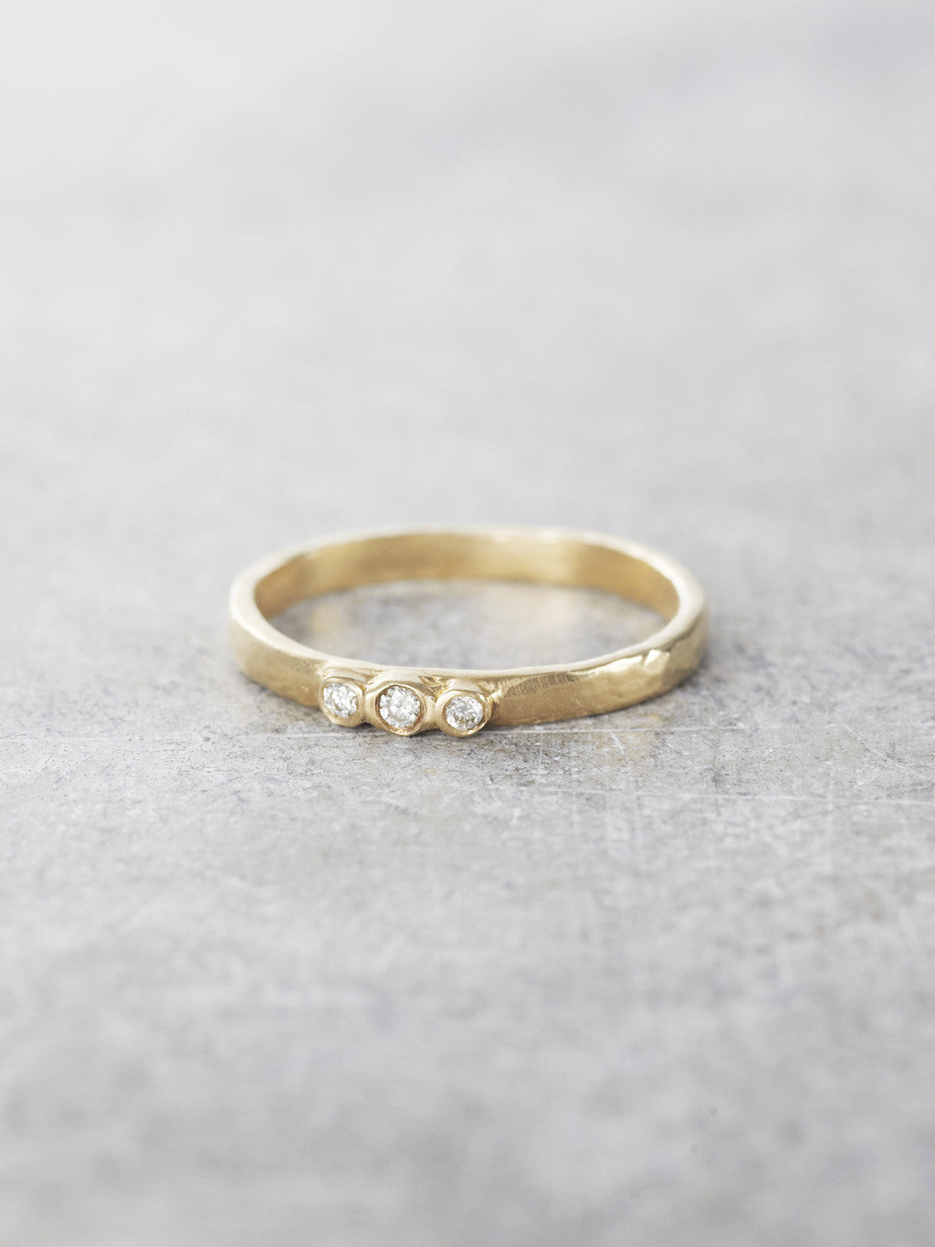 Diamond Trio Hammered Ring