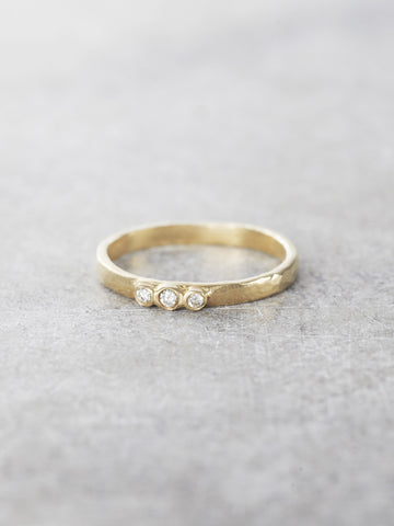 14K Diamond Trio Hammered Ring - LUNESSA