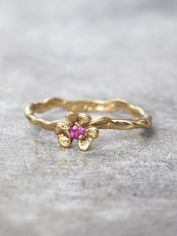 14K Gold Ruby Clover Branch Ring