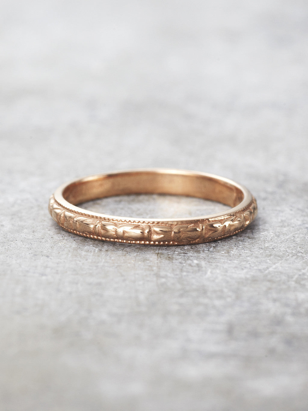 14K Antique Engraved Wedding Ring Band - Rose Gold