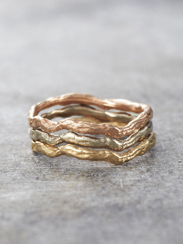 14K Gold Wavy Branch Stacking Rings