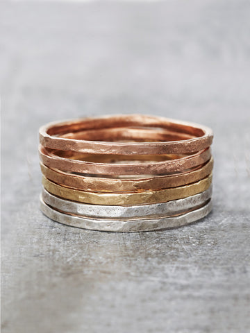 1.4mm Hammered Stacking Rings
