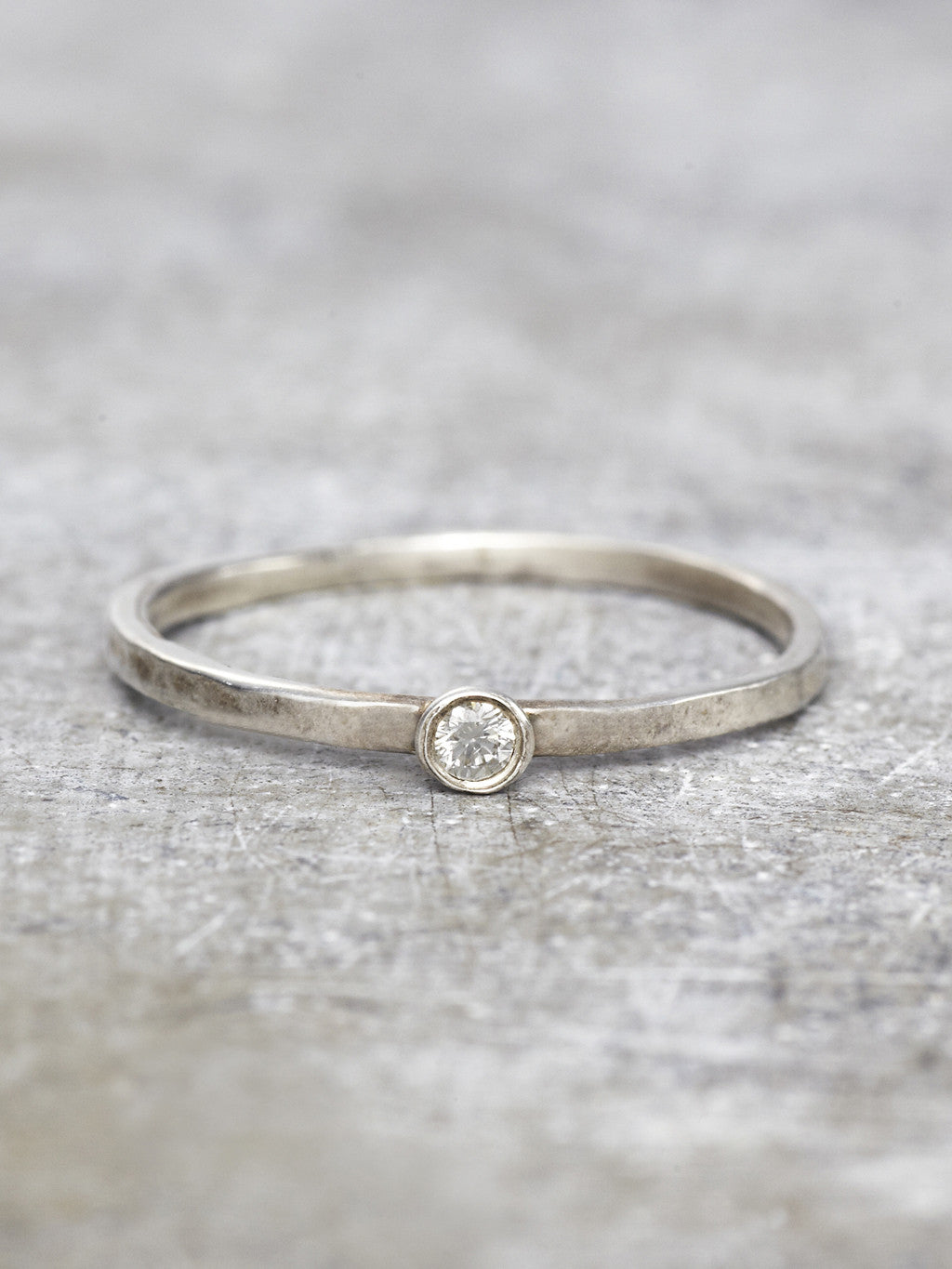 Delicate Diamond Solitaire Stacking Rings - LUNESSA