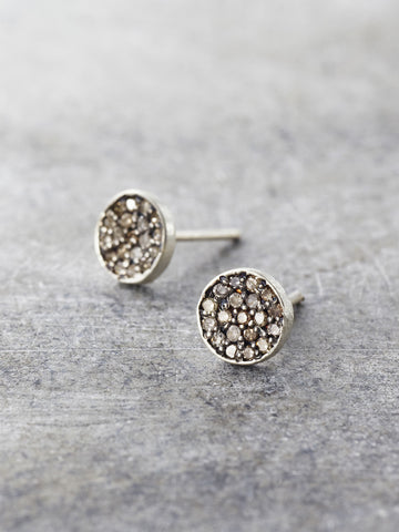 6mm Champagne Diamond Disk Posts - LUNESSA
