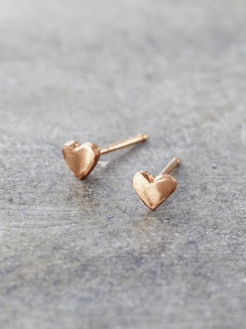 14K Rose Gold Tiny Heart Post Earrings