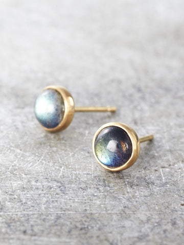 14K Gold Luminous Labradorite Post Earrings