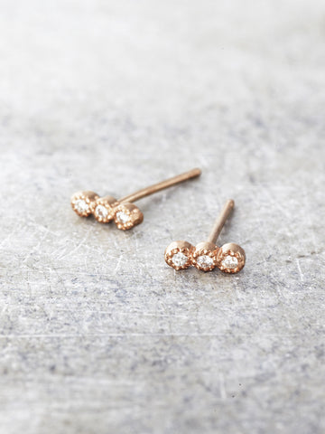 Three Diamond Wishes Post Earrings - LUNESSA
