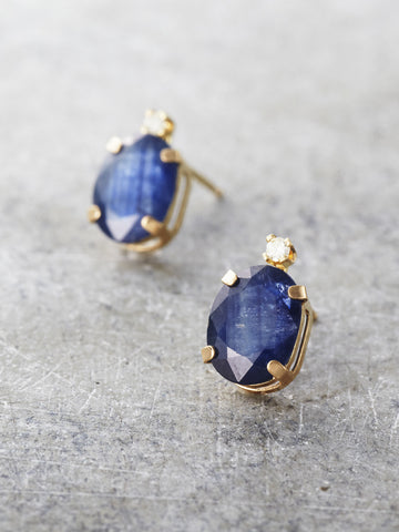 14K Sapphire & Diamond Post Earrings