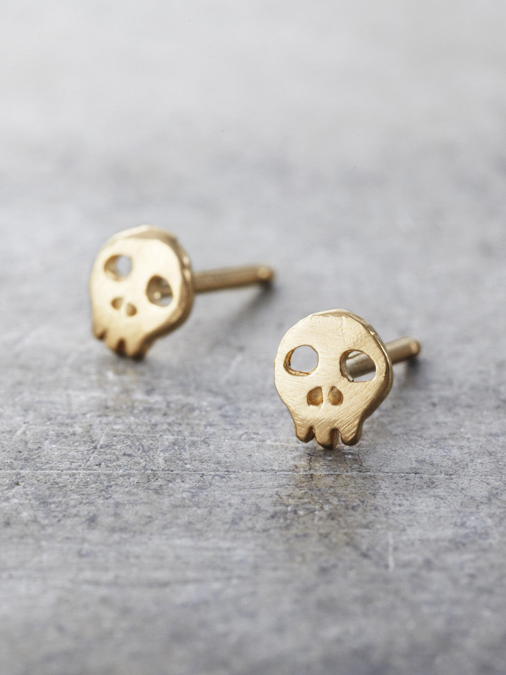 14K Yellow Gold Skull Post Earrings