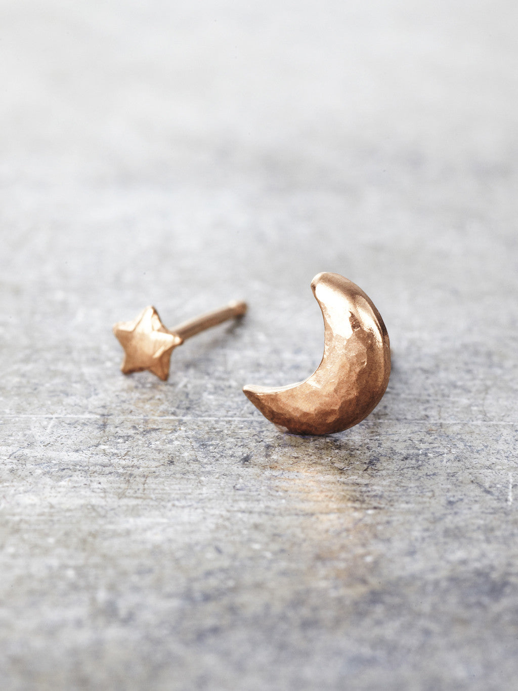 14K Rose Gold Moon and Star Post Earrings