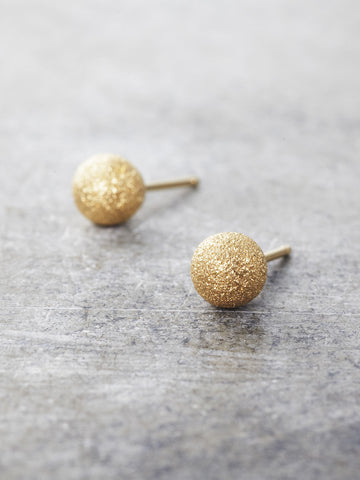 14K Yellow Gold Stardust Post Earrings - 6mm