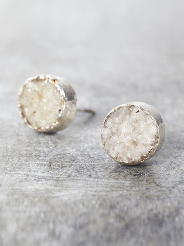 Druzy Post Earrings - White