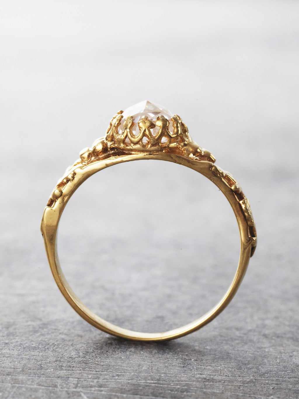 14K Gold Ice Castle Crown Ring - Moissanite