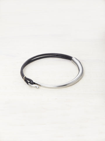Kids Leather Bar Bracelet - Black