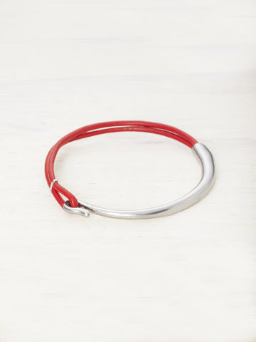 Leather Bar Bracelet - Chili