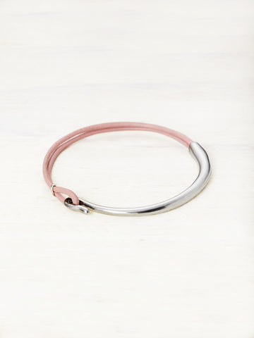 Leather Bar Bracelet - Dusty Rose