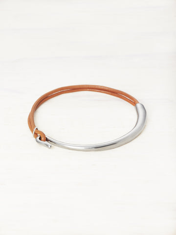 Leather Bar Bracelet - Spice