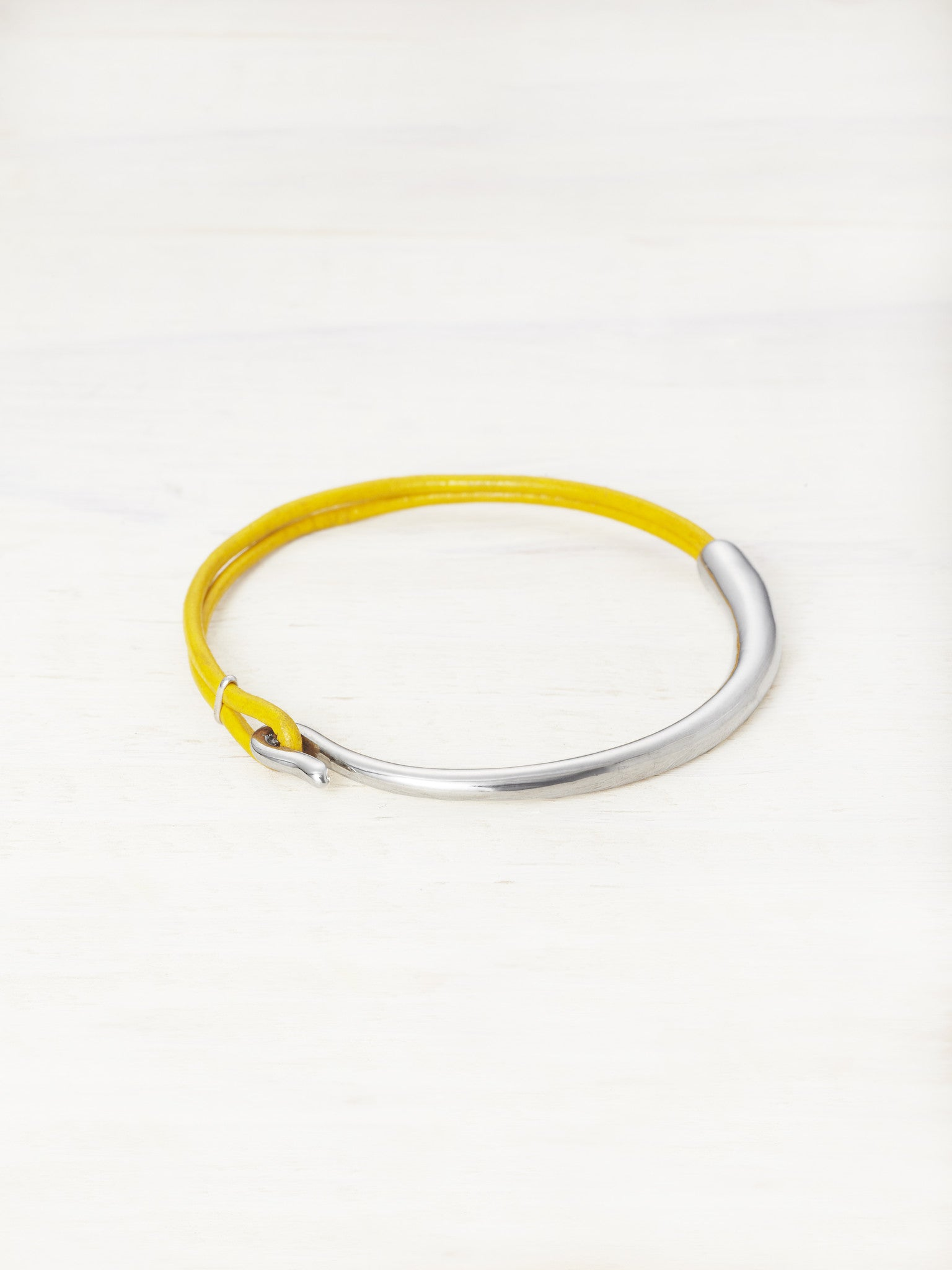 Leather Bar Bracelet - Limoncello
