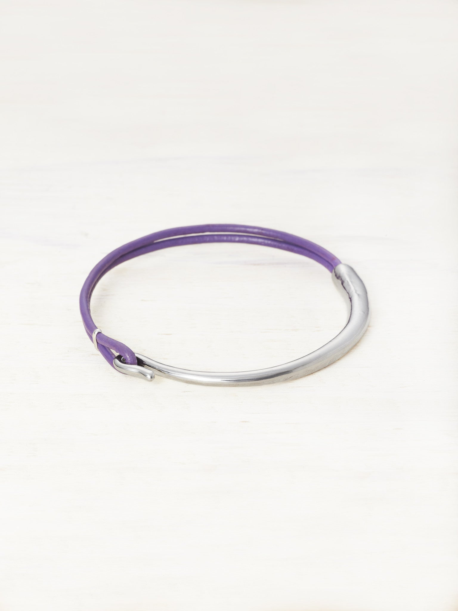 Leather Bar Bracelet - Orchid
