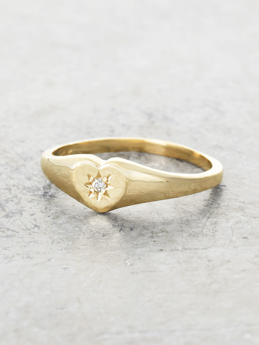 Baby Heart Diamond Signet Ring
