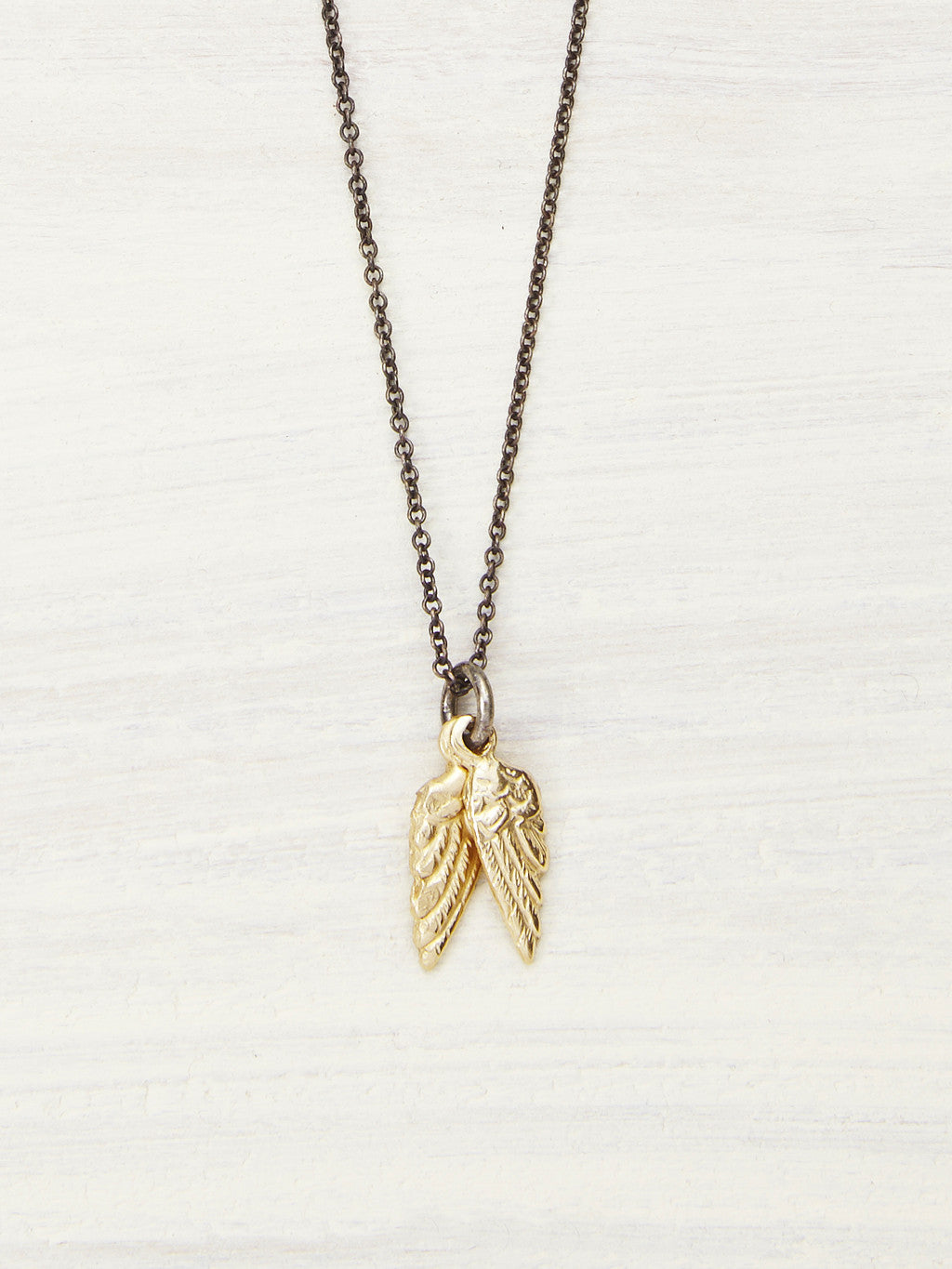 14K Gold Baby Wings Necklace - Cropped