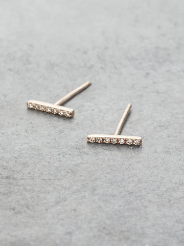 14K Pave Diamond Stick Earrings