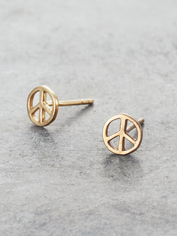14K Peace Sign Post Earrings Yellow Gold