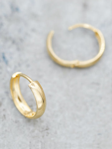14K Gold 15mm Huggie Hoops