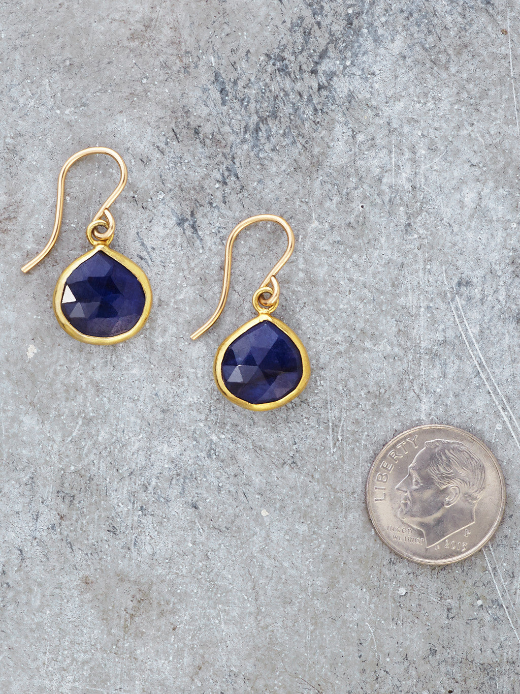 Gold Framed Sapphire Teardrop Earrings to scale