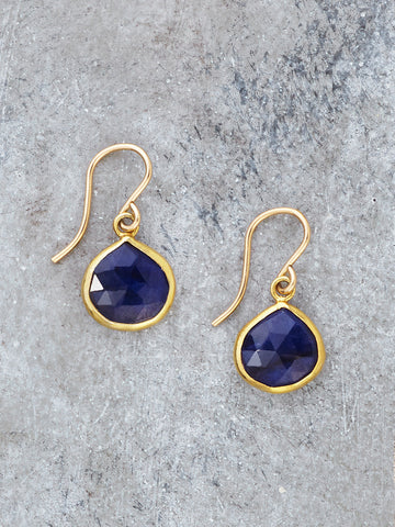 Gold Framed Sapphire Teardrop Earrings